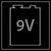 9V: Es wird mit einer 9V Blockbatterie betrieben.